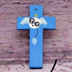 Lustiges Engerl auf Mini-Holzkreuz