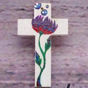 Mini-Holzkreuz handbemalt